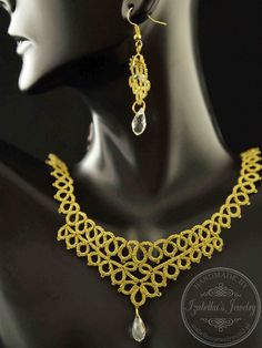 Tatting - Bridal lacy necklaces and earrings in metallic gold / Frywolitka…