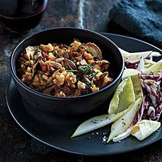 Dinner Tonight: Pork | Pumpkin-Shiitake Risotto with Pancetta and Pine Nuts | CookingLight.com