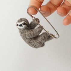 Sloth brooch Pin sloth Needle felted sloth Sloth by LilenokArt
