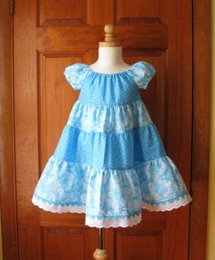 Girl toddler tiered twirly peasant dress blue with white butterflies - Color Placement