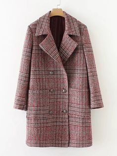 To find out about the Double Breasted Check Coat at SHEIN, part of our latest Outerwear ready to shop online today! Look Fashion, Fashion Outfits, Winter Fashion, Mode Mantel, Plaid Coat, Red Plaid, Wool Coat, Check Coat, Double Breasted Coat