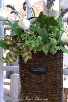 Basket - love the idea of using a basket on an interior door