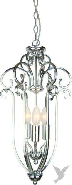 Høyde:128cm med kjetting 55cm er selv lampen, Diameter:30cm 3stk pærer E14, Blank nikkel. Vår elegante Isabelle lysekrone i en mindre utgave. Kommer Snart!