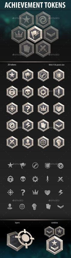 Buy Achievement Tokens by a-ravlik on GraphicRiver. The set includes 20 icons and one slot. Free Game Assets, Pixel Size, Game Ui, Game Logo, Initials Logo, Game Background, Game Icon, Game Design, Ux Design