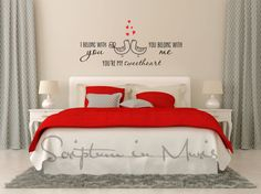 You're My Sweetheart Love Birds Decal bedroom wall decal red gray bedroom, simple modern bedroom decor
