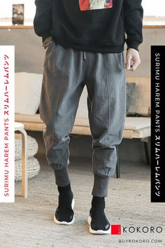 The Surimu Harem Pants are a slimmer version of the popular Juku Harem Pants. Made from linen, they are breathable and grow softer with continued wear. Surimu Harem Pant, Men's fashion, Men's Style Inspiration, Fashion Blogger, Trendy Outfit, Street Style, Men's Casual Outfit, Men's Urban Style, Men's Classy Style, Men's Fall Outfits, Men's Clothing Style! #pant #menswear #fashionoutfit #fashioninspiration #kokorostyle