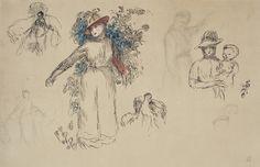 Pierre-Auguste Renoir (1841-1919) | Etudes: Femme au jardin | late 19th Century, Drawings & Watercolors | Christie's Pierre Auguste Renoir, Impressionist Art, French Art, Art Day, Modern Art, Watercolor, Ink, Illustration, Prints