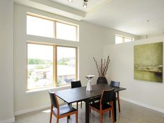Minimalist Dining Room: This urban dining room takes a minimalist approach, allowing the bold artwork to stand out. From HGTVRemodels.com