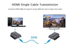HD372 is a HDMI extender while using CAT-5E/6 cable as transmission media. Normal HDMI Cable could transmit 10 to 15 meters without loss,so when you want to play your HDTV further away from your HDMI source,you need to use this HDMI over CAT5e/CAT6 extender. By using HD372,the transmission distance can up to 60 meters 1080p.