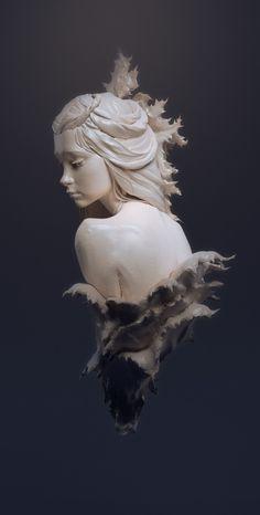 ArtStation - A girl in prickly leaves, Dmitry Zamulin Art Sketches, Art Drawings, Arte Viking, Bild Tattoos, 3d Modelle, Art Sculpture, Ceramic Sculptures, Arte Obscura, Wow Art