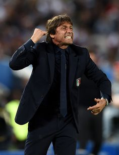 Antonio Conte head coach of Italy gesturesduring the UEFA EURO 2016 quarter final match between Germany and Italy at Stade Matmut Atlantique on July. Antonio Conte, Uefa Euro 2016, Germany And Italy, 2016 Pictures, World Football, Sports, Italy, Hs Sports, Sport