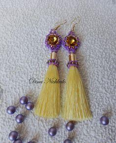 Chandelier earrings Yellow beaded tassel earrings Bright Fringe Statement Earrings Long Tassel Earrings Dangle earrings Bohemian earrings by Dianabiser on Etsy