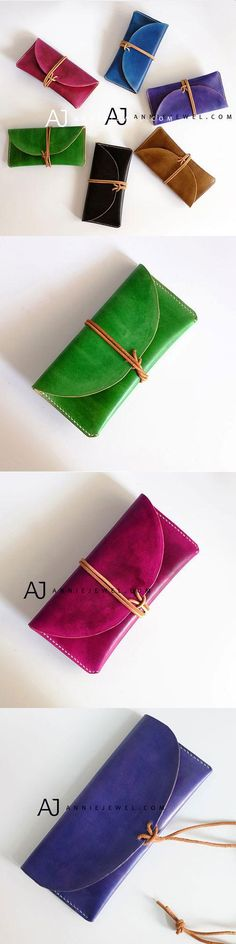 CHOOSE YOUR COLOR! HANDMADE LEATHER FOLDED VINTAGE WOMEN MEN LONG WALLET CLUTCH PHONE PURSE WALLET