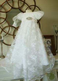 The Elizabeth Dress... Baptism Blessing Dress in Chantilly Lace with Broach and Bonnet