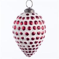 Glass Droplet Bauble Rustic White/Red 10cm - Christmas