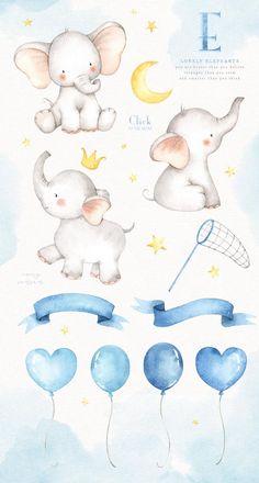 Lovely Elephants Watercolor Clip Art by everysunsun on Illustration Mignonne, Cute Illustration, Elephant Illustration, Digital Illustration, Watercolor Bird, Watercolor Animals, Elephant Watercolor, Watercolor Sketch, Watercolor Scenery
