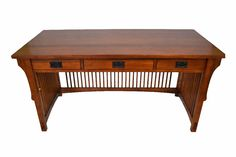 Library Table Desk with Spindles & 3 Drawers