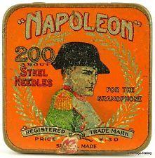 NAPOLEON brand gramophone needle tin. (Largest Square Orange Version)