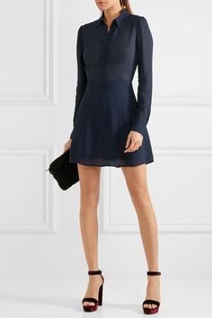Midnight-blue georgette Button fastenings along front, concealed zip fastening along back 100% viscose Dry clean