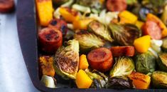 Sheet pan recipes are the best way to get healthy meals made quick. Try out this recipe for a quick and easy recipe that's sure to be flavor-filled and satisfying! Chicken Apple Sausage, Chicken And Butternut Squash, Easy Meals For One, Quick Easy Meals, New Recipes, Healthy Recipes, Healthy Meals, Easy Recipes, Sprout Recipes