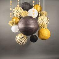 14-pc Gold / Black New Year's Eve Celebration Party Pack Paper Lantern Combo Set