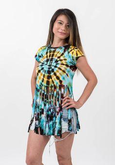 Women Tie Dye Fringed Top Tropical Blue