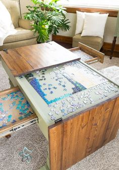 Puzzle table for the game room Deco Gamer, Home Decoracion, Diy Coffee Table, Coffee Table Makeover, Unique Coffee Table, Table Games, Game Tables, Party Tables, My New Room