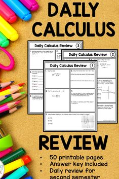 Daily Calculus Review - great for AP Calculus AB. Fun Calculus Warm Up problems. #APcalculus #funinmathclass Math Bingo, Math 2, Math Class, New Classroom, Classroom Activities, Ap Calculus, 12th Maths, Math Courses, Secondary Math