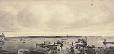 A panoramic view of the lake from the point of view of the docks in 1910.