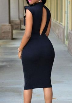 Black Cut Out Ruffle Sleeveless Bodycon Party Club Fashion Midi Dress cedd8e6c651
