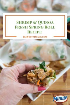 Shrimp Quinoa Fresh Spring Rolls are a wholesome and delicious lunch option made with Minute® Ready to Serve White & Red Quinoa, fresh shrimp and fresh vegetables Minute Rice Recipes, Appetizer Recipes, Appetizers, Shrimp And Quinoa, Fresh Spring Rolls, Organic Quinoa, Fresh Vegetables, Healthy Recipes, Meals