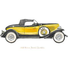 Items similar to 1932 Auburn Boattail Speedster, classic automobile watercolor print, on Etsy Auburn, Ford Convertible, Airplane Wall Art, Car Themes, Yellow Car, Car Illustration, Vintage Airplanes, Car Drawings, Ford Motor Company