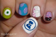 Monsters Inc. nail art. #thepolishsquirrel