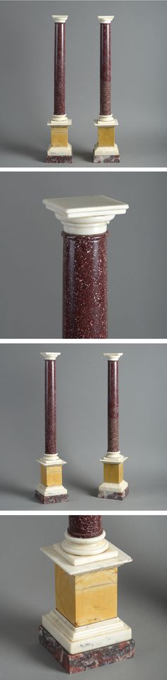 Pair of classic century Swedish porphyry table columns; Circa Of You … – Marble Table Designs Round Marble Table, Pink Marble, Diy Table, Columns, 19th Century, Obelisks, Carving, Table Designs, Grand Tour