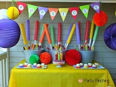 There's no better way to decorate a Popsicle party then with giant Popsicle's