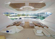 Nomad 75 fly-bridge seating area. Visit gulfcraftinc.com for more information.