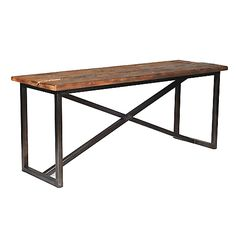 console table for landing area at bottom of stairs along brick wall. Brings in the wood and iron accents. From Hudson Goods.
