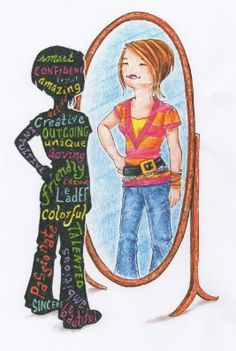Pigtail Pals Self Reflection tee shows our girls all of the amazing things they should see about themselves when they look in the mirror.