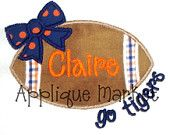 Machine Embroidery Design Applique Football Bow Go Tigers