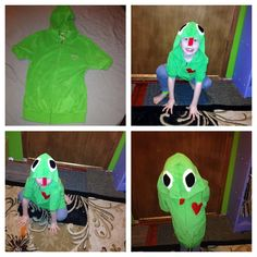 Diy upcycled hoodie into piggy costume pig costume do it diy froggy costume upcycled hoodie solutioingenieria Images