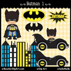 Batman 1 Digital Clip Art  Commercial Use by ResellerClipArt, $1.75