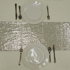 """Silver Premium Sequin Table Runners - Table Top Wedding Catering Party Decorations - 108x12"""""""