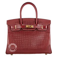 Bourgogne & Rouge H Ghillies Birkin. Hermes Bags, Hermes Handbags, Hermes Birkin, Crocs, Lilac, Leather, Blue, Gold Hardware, Accessories