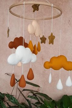 Just another Sosyeter Sites site - Clouds mobile nursery, neutral gender nursery mobile, gold baby mobile, star mobile, clouds hanging Star Mobile, Cloud Mobile, Baby Boy Rooms, Baby Cribs, Baby Room, Hanging Clouds, Hanging Mobile, Diy Décoration, Baby Decor