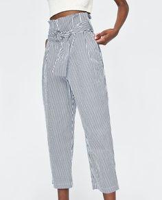 STRIPED PAPERBAG TROUSERS Zara Shop, Paperbag Pants, Trousers Women, Women's Trousers, Striped Pants, Pajama Pants, Pajamas, My Style, Shopping