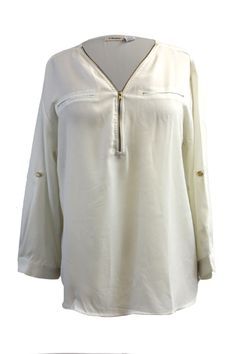 Plus Size Chiffon Button-Cuff Sleeve Blouse Top