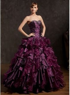 Ball-Gown Sweetheart Floor-Length Taffeta Organza Quinceanera Dress With Ruffle Beading (021015148)