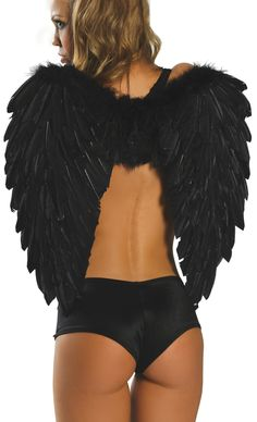 Sexy black feather angel short wings (OMG I used to have these, paid a lot more for them way back when too. I miss them <3)