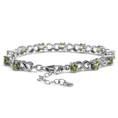 3.6ct. Natural Peridot 925 Sterling Silver Infinity Knot 6.5-8' Adjustable Bracelet *** See this great product. (This is an affiliate link) #JewelryForWomen