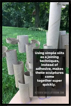 Free art experiences are hard to beat. Using toilet paper cardboard tubes to create a recycled sculpture is a fun and easy way to learn about building up. 3d Art Projects, Sculpture Projects, School Art Projects, Sculpture Ideas, Sculpture Art, Cardboard Sculpture, Cardboard Art, Cardboard Tubes, Cardboard Playhouse